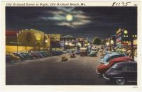 Old Orchard Street at night, Old Orchard Beach, ca. 1938