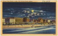 Ocean Front Hotels at night, Old Orchard Beach, ca. 1938