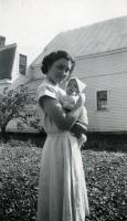 Baby John and Miss Benjamin, Farmington State Teachers College, 1950