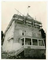 Odd Fellows Hall under repair, Swan's Island, 1979