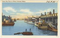 Casco Bay Fleet at wharf, Portland, ca. 1938