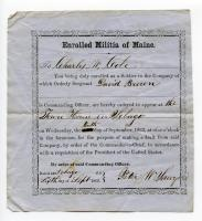 Militia call-up notice, Sebago, 1862