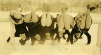 Students on a railing, Farmington State Normal School, ca. 1929