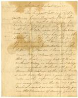 Letter from Ambrose Crane about stolen slave, 1835