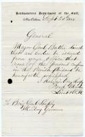 Request to prohibit whipping of prisoners, New Orleans, 1862