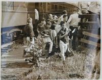 Boys getting off train at Readfield