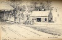 Hiram Bridge pencil drawing, 1909