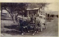 Postcard of covered wagon trip, Camp Winnebago