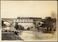 Railroad bridge pencil drawing, Ohio, ca. 1900