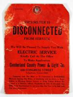 Disconnected electric service tag, ca. 1910