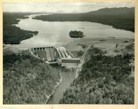 Harris Dam and hydro station, Indian Pond, ca. 1955