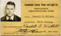 Wendell B. Willett identification card, Saco, 1942