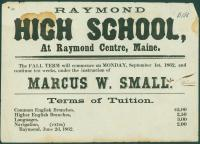 Raymond High School broadside, 1862