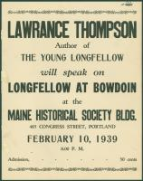 Lawrance Thompson lecture announcement, Portland, 1939