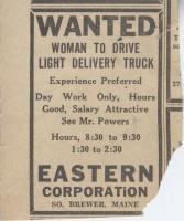 Want ad for female truck drivers, Brewer, ca. 1943