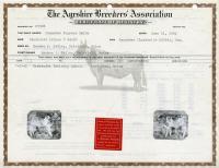 Madawaska Training School livestock certificate, Fort Kent, 1942