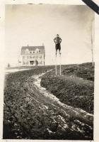 Good Will boy on stilts, Fairfield, ca. 1915