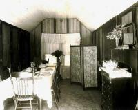 Swan camp dining room, Wesserunsett Lake, ca. 1905