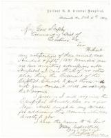 Letter on hospital space shortage, Portsmouth, Va., 1864