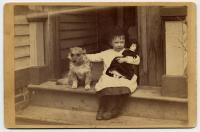 Child with doll and pet dog, ca. 1905
