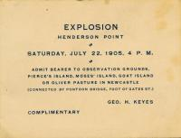 Explosion Ticket, Kittery, 1905
