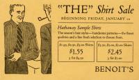 'The' Shirt Sale advertising card, ca. 1930