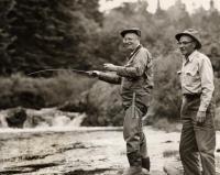 President Dwight D. Eisenhower fishing at Little Boy Falls, Oxford, 1955