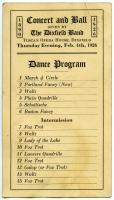 Tuscan Opera House Dance Program, Dixfield, February 4, 1926