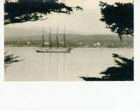 Vista with a four-masted schooner, Southwest Harbor, ca. 1935