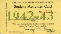 Student Activities Card, Farmington State Normal School, 1942