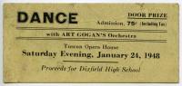 Dance Ticket, Tuscan Opera House. 1948