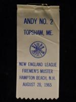 Fire muster participant ribbon, Androscoggin Veteran Firemen's Association, 1965