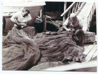 Mending nets, South Bristol, ca. 1950