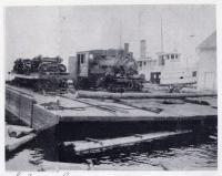 S.L.& S.J. RR locomotive on scow at Seboomook, Moosehead Lake