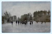 Ice Skating on Webb River, Dixfield, ca. 1900