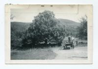 Mamie and Jesse Adams on Haywagon, Dixfield, 1955