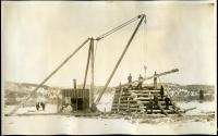Construction of boom pier on Androscoggin River, Rumford, 1893