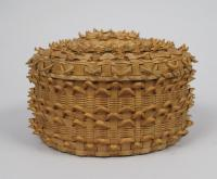 Fancy porcupine-weave basket, Penobscot, 1862