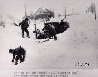 Stuck snowplow in Stockholm, 1943