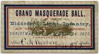 Biddeford Light Infantry Grand Masquerade Ball ticket, Biddeford, 1877