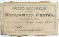 Montgomery Guards Saco River Excursion Ticket, Saco, 1876