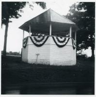 Monson Band Stand decorated for 150th Anniversary, Monson June 24, 1972