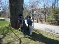 Teacher Jason Bigonia and students taking a