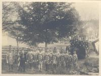 Knights of Pythias in full regalia, Boothbay Harbor, ca. 1900