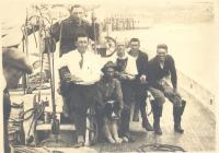 Capt. Donald MacMillan with a group on the Bowdoin, 1922