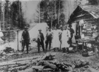 Cook house and crew, Maine woods