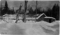 Camp in deep snow, Maine woods