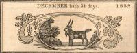 December excerpt from Old Farmer's Almanac, 1852