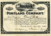 Portland Company stock certificate, 1902