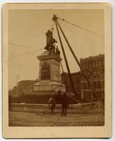 Erecting monument in Monument Square, Portland, 1891